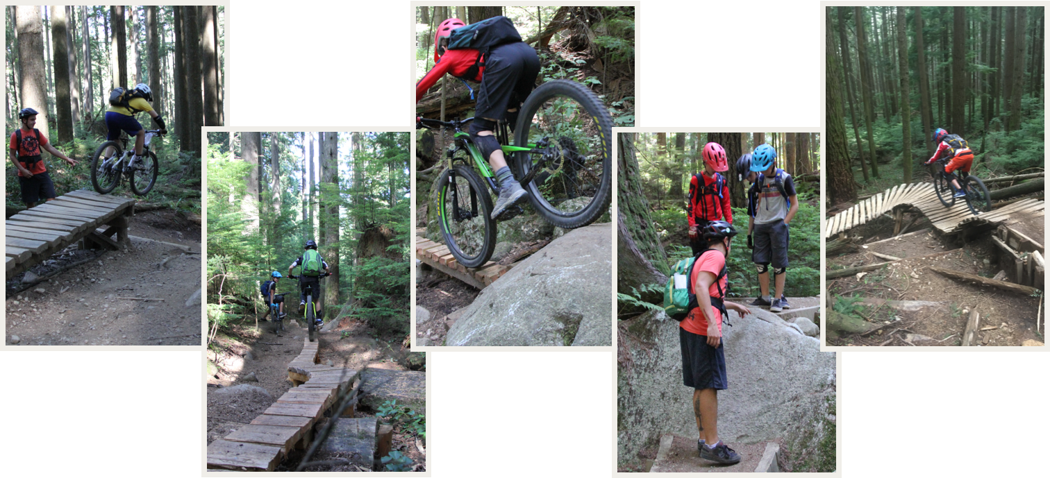 Collage of riders on forest trails in the Extreme Riders Camp